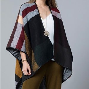 Sweaters - Reversible Plaid Poncho Faux Leather Trim